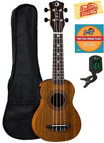 Luna Vintage Mahogany Soprano Acoustic-Electric Ukulele Bundle with Gig Bag, Tuner, Austin Bazaar Instructional DVD, and Polishing Cloth by Luna Guitars
