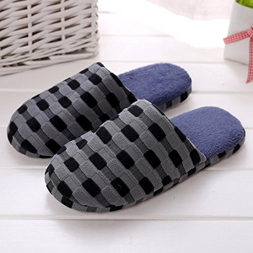 Ikevan Winter Warm Cotton Slippers Home Shoes Non-slip Soft Couples Cotton Slippers Blue FWuEH