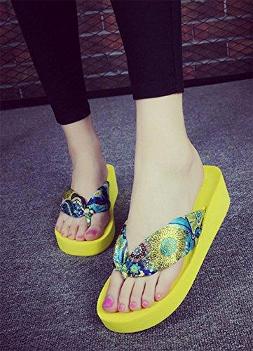 Señoras Sandalias de verano con zapatillas de espinilla espesando suelas Zapatillas de playa Zapatillas 3