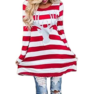 84e28e2d3a1 Christmas Dress Mother Daughter Mum Girl Stripe Xmas Novelty Dresses  Matching Reindeer Elk Long Sleeve Casual Top: Amazon.co.uk: Clothing