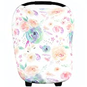 Baby Car Seat Cover Canopy and Nursing Cover Multi-Use Stretchy 5 in 1 Gift  Bloom  by Copper Pearl
