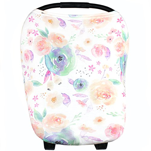 Discover Bargain Baby Car Seat Cover Canopy and Nursing Cover Multi-Use Stretchy 5 in 1 Gift Bloom...