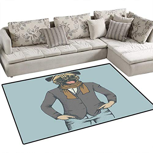 (Pug Anti-Static Area Rugs Abstract Image of a Dog with Human Proportions with Jacket Scarf and Jeans Absurd Children Kids Nursery Rugs Floor Carpet 40
