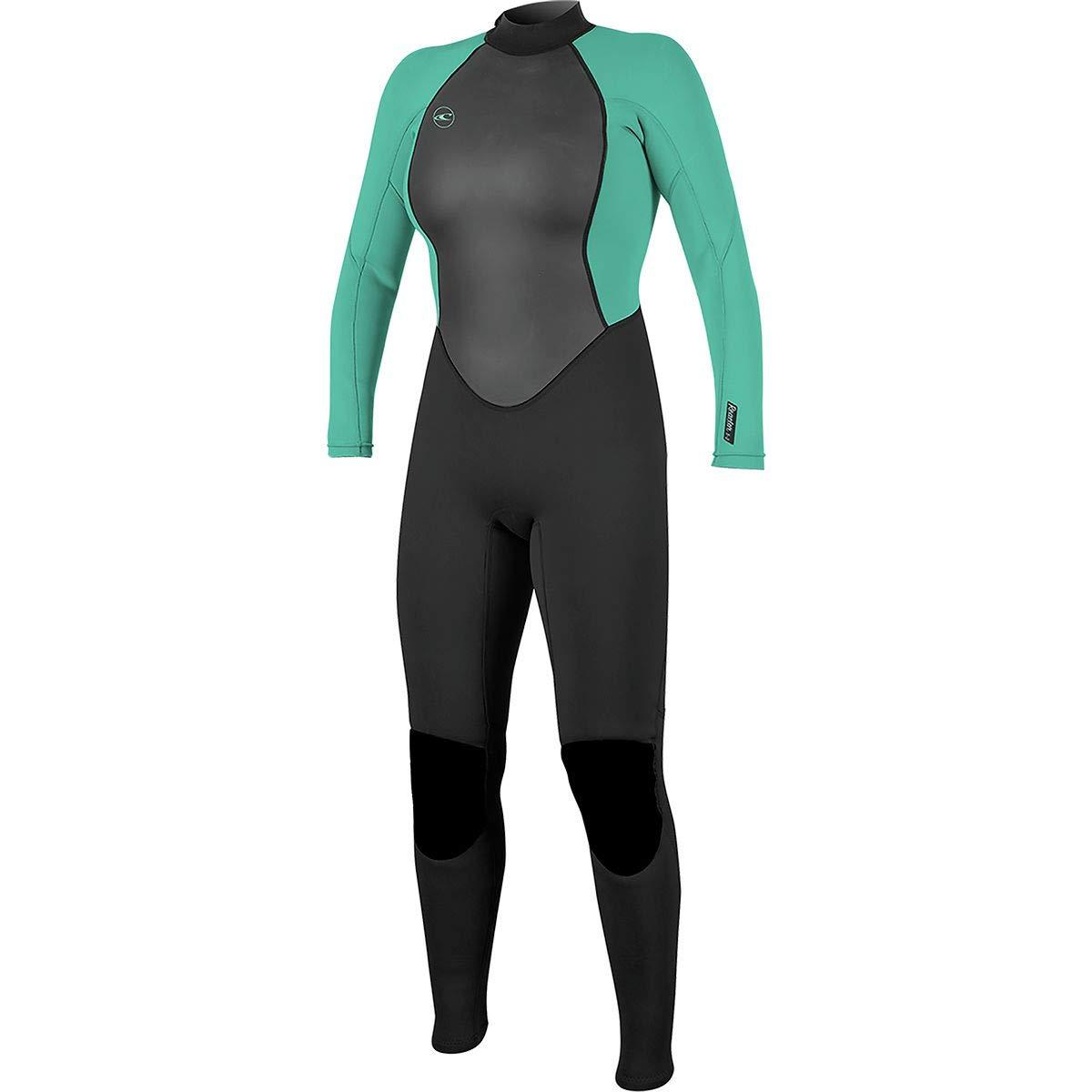 O'Neill Women's Reactor-2 3/2mm Back Zip Full Wetsuit, Black/Aqua, 6