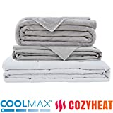 [New] Weighted Blanket 20lb - Includes Coolmax Duvet Cover for Hot Sleepers and Warm Fleece Cover- Stitched with Nano Ceramic Beads for Comfort- for Adults with ADHD, RLS, and Anxiety, 80