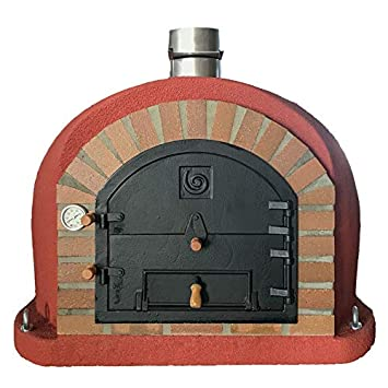 package Outdoor Cooking & Eating Outdoor Wood Fired Pizza Oven 100cm Brick Red Premium Italian Model