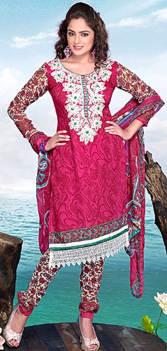 Exotic India Carmine Printed Choodidaar Kameez Suit with Embroidery on - CarmineGarment Size X-Small