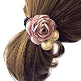 Hair Accessories,TOOPOOT Women Satin Ribbon Rose Flower Pearls Ponytail Hair band (pink)