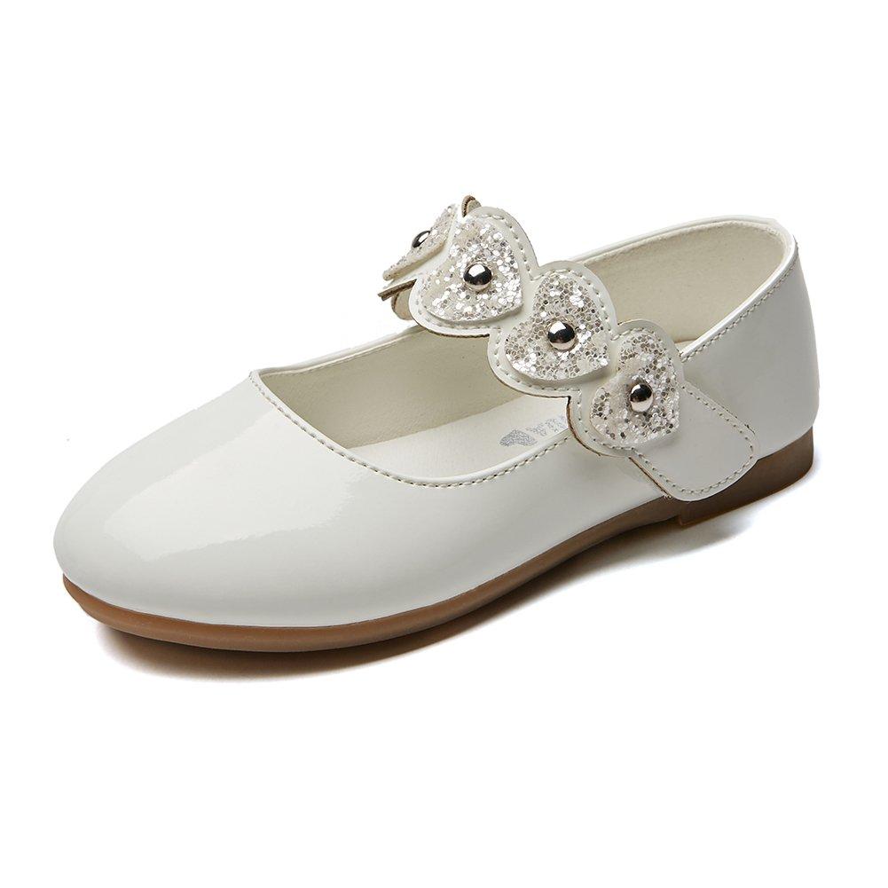Chiximaxu Kid Girls Outdoor Dressy Ballet Mary Jane Flats,Off White Toddler Size 5.5