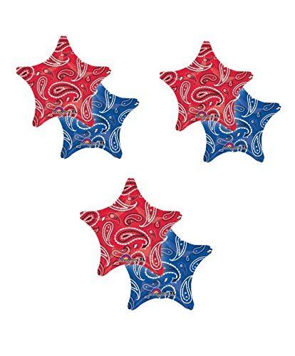 3 ~ THREE 18 foil BALLOON party BANDANA PRINT western COWBOY hoedown FAVORS red/blue by Anagram