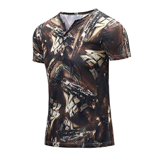 Fashion Men's Colorful Summer Short Sleeve Fit Casual T-Shirt Blouse Tops Yellow