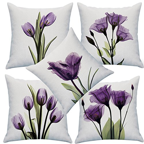 NATURALSHOW Print Elegant Tulip Purple Flower LinenThrow Pillow Cover Sofa Couch Art Painting For Living Room Decor Cushion Cover And Modern Home Decorations Pillowcase (1818 IN, 5PCS) (Sale Cushions)