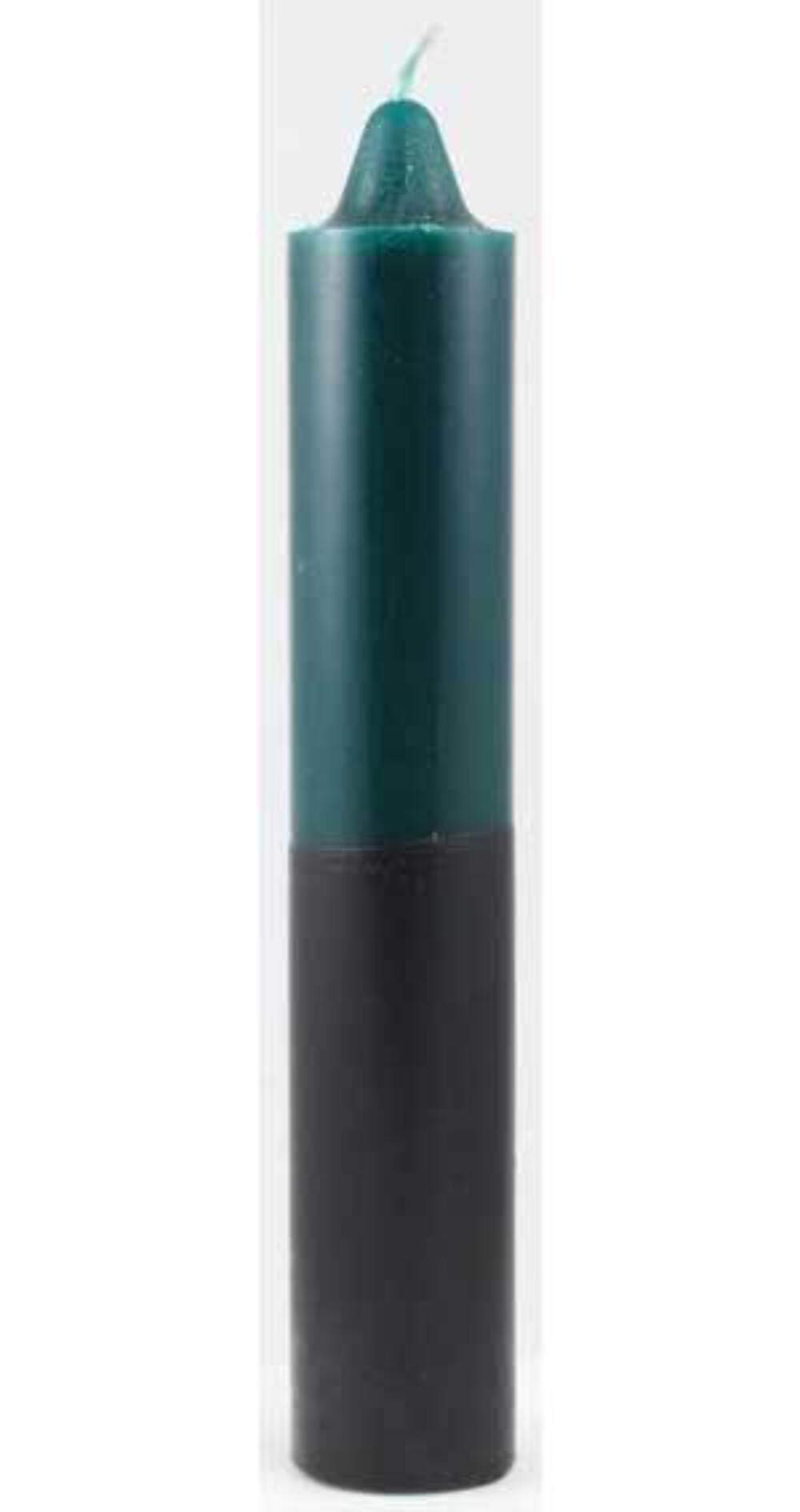 """Reversible Green and Black Jumbo Candle ~ 9"""" x 1.5"""" ~ Green and Black Double Action"""