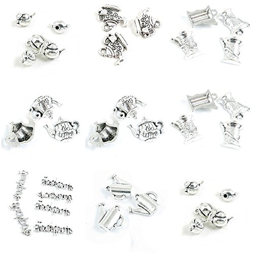 36 Pieces Antique Silver Tone Jewelry Making Charms Teapot T