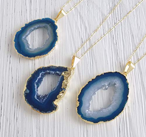 Teal Agate Necklace Geode Slice Druzy Pendant Agate Large Gemstone Turquoise Crystal Gold ()