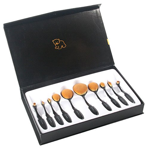WOVTE Makeup Brushes 10 Piece Oval Makeup Brush Set Toothbrush Shaped Design Foundation Concealer Blending Blush Powder Cream Cosmetics Brushes for Face Powder Eye shadow with Gift Box