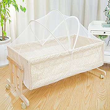 Amazon.com : Portable Wooden Baby Cradle Rocking Crib Newborn ...