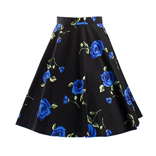 iHaipi - Vintage Rockabilly Floral Annes 50 Jupe (03. Large, 13. Bleu) 18 Noir - Bleu Fleurs