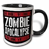 3dRose mug_193279_4 The hardest part about a zombie apocalypse, - Two Tone Black Mug, 11oz