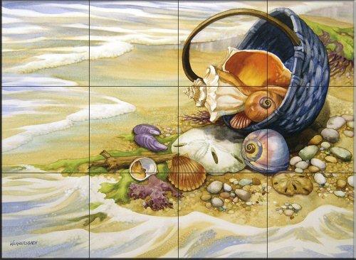 - Ceramic Tile Mural - Beachcombers Basket - by Nancy Wernersbach - Kitchen backsplash/Bathroom Shower