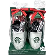 Starbucks Travel Mugs Gift Set - 2 Double Wall Ceramic Starbucks Travel Mugs, 10 fl oz each with Via Instant Coffee and Peppermint Hot Cocoa