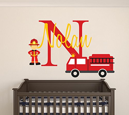 (Personalized Name Firefighter And His Truck- Baby Boy - Wall Decal Nursery For Home Bedroom Children (Wide 30