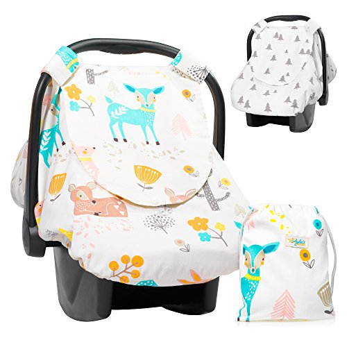 Baby Boo Newborn Blankets - Aylin's Boutique Reversible Car Seat Cover | Infant Car Seat Cover for Boys or Girls | Nursing Cover with Snap Window-Flap, Zipped Anti-Mosquito Mesh for Baby Shower (Beige)