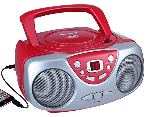Sylvania SRCD243M-RED Portable Cd Player with Am/FM Radio Bo