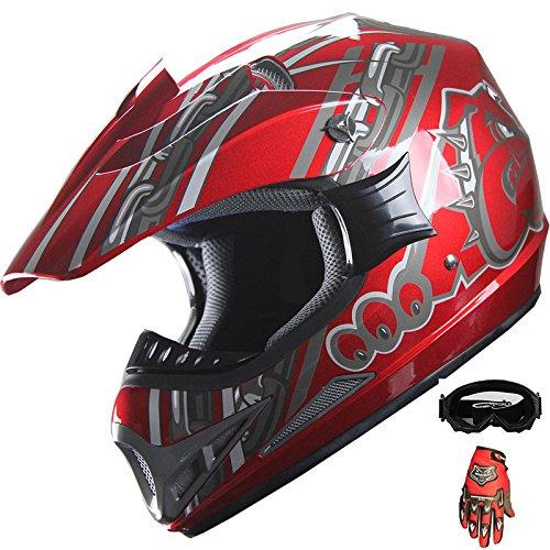 Mx Combo Box (ATV Motocross Off Road Helmet Combo A28 Wine Red+gloves+goggles (L))
