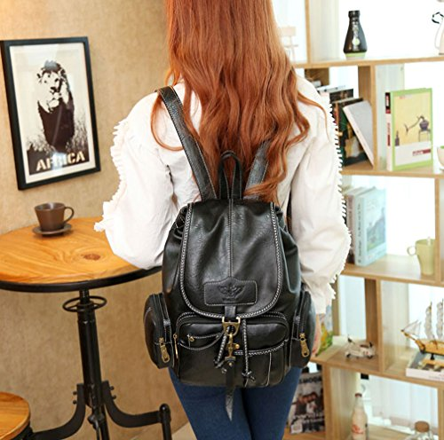 Backpack Waterproof Womens Purse Vintage Girls For New Black Style Fashion Leather qwRn4x6pER