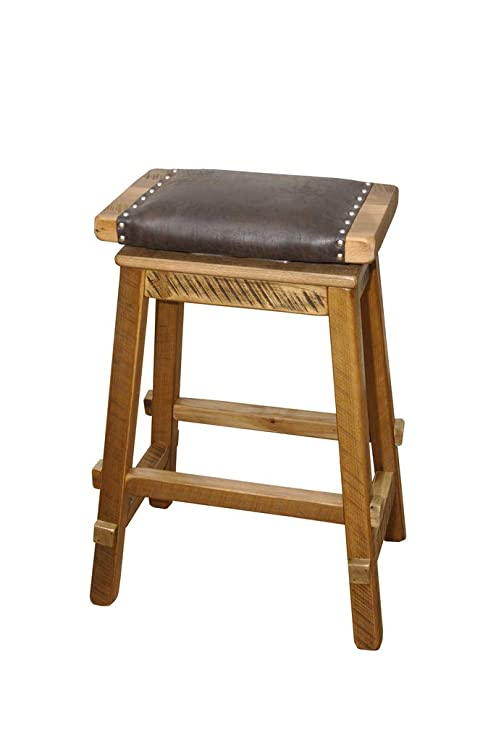 Awe Inspiring Amazon Com Rustic Reclaimed Barn Wood Saddle Stool With Pdpeps Interior Chair Design Pdpepsorg