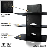 Component Shelf Mount with wood grain and three large glass shelves AEON-60302