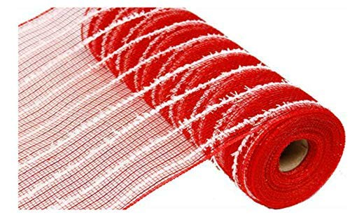10.5 inch x 30 feet Cotton Ball Deco Poly Mesh Ribbon (Red, White)