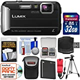 Panasonic Lumix DMC-TS30 Tough Shock & Waterproof Digital Camera (Black) with 32GB Card + Case + Battery + Tripod + Float Strap + Kit