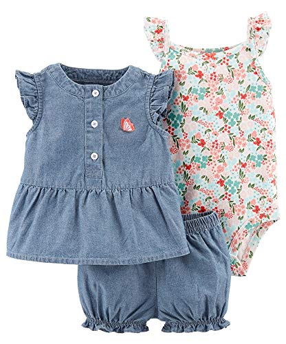 - Carters Baby Girls 3-pc. Butterfly Chambray Layette Set 6 Months Blue/Multi