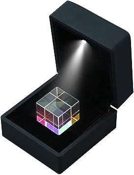 Separador de dispersión RGB de prisma de vidrio óptico, caja de regalo con luz LED, utilizado para fotografía, enseñanza de física del espectro, artes decorativas, regalos (caja de regalo de 15 mm):