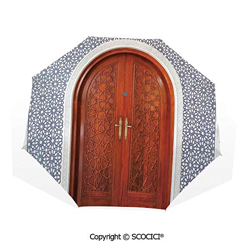 SCOCICI Custom Print Umbrella Compact Rain & Wind Umbrellas,Antique Wooden Door of Asian Architecture with Star Form Oriental Belief Picture,UV Protection Windproof Straight Umbrella