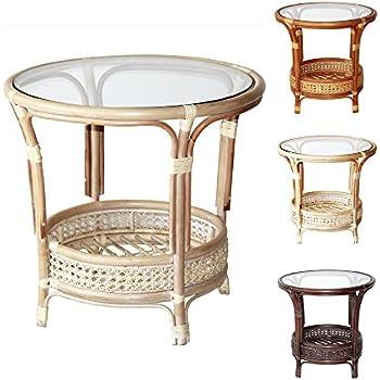 Pelangi Handmade Rattan Round Wicker Coffee Table With Glass, White Wash