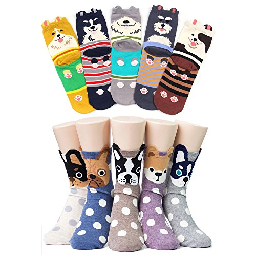 Women's Cute Dog Printed Cotton Crew Socks, Mix Color - 10 Pack, US Women's Shoe Size 5-9  Price: $18.99