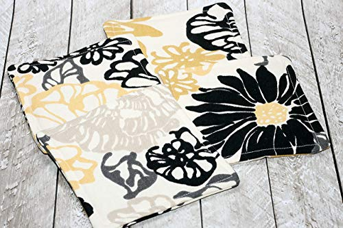 Yellow and Black Floral Print Fabric Coaster Set