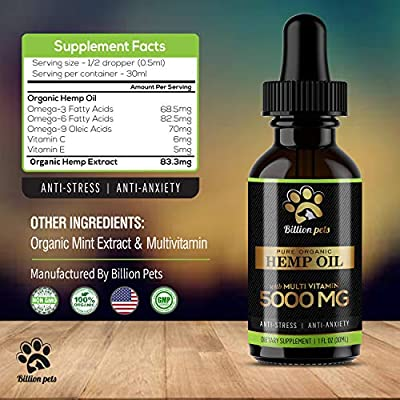 Billion Pets - Hemp Oil Dogs Cats - 5000mg - Separation Anxiety, Joint Pain, Stress Relief, Arthritis, Seizures, Chronic Pains, Anti-Inflammatory - Omega 3, 6, 9-100% Organic - Calming Drops