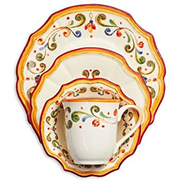 Sur La Table Francesca 16-Piece Dinnerware Set  sc 1 st  Amazon.com & Amazon.com | Sur La Table Francesca 16-Piece Dinnerware Set ...
