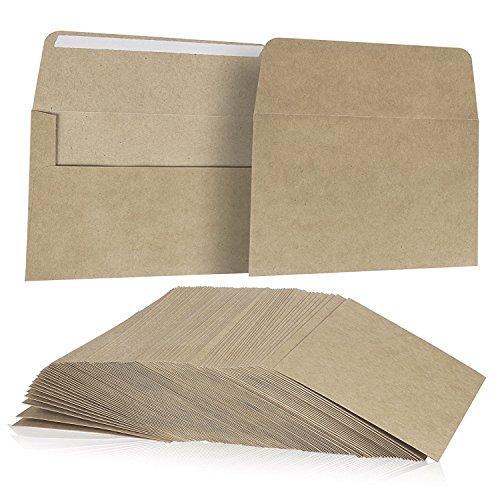 Juvale 100 Pack, Size A7 Brown Kraft Paper Envelopes Self Sealing Adhesive Stationery General, Office, Home Use - Tan - Set of 100-5.25 x7.25 inches