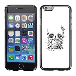 // PHONE CASE GIFT // Duro Estuche protector PC Cáscara Plástico Carcasa Funda Hard Protective Case for iPhone 6 / Cráneo floral de la flor /