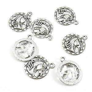 Antique Silver Jewelry Making suministro charms conclusiones b2rc2señales de cabeza de caballo