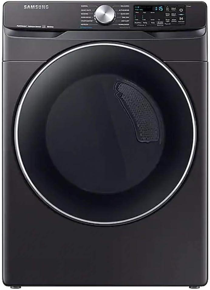 Black Stainless Smart Electric Front Load Dryer with Steam Sanitize+ Ft Samsung DVE45R6300V 7.5 Cu