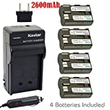 Kastar Battery (4-Pack) and Charger for Canon BP-511, BP-511A, BP511, BP511A and EOS 5D, 10D, 20D, 30D, 40D, 50D, Digital Rebel 1D, D60, 300D, D30, Kiss Powershot G5, Pro 1, G2, G3, G6, G1, Pro90 etc.