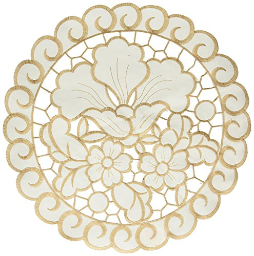 pphire Embroidered Cutwork Lace Design Round Doily, Set of 4, 16