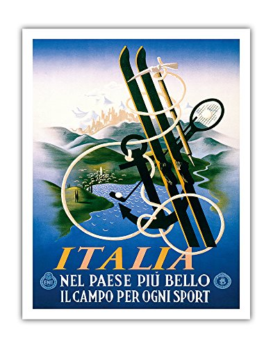 Italia (Italy) - Nel Paese Più Bello il Campo per Ogni Sport (The Most Beautiful Country for All Sports) - Vintage World Travel Poster by Adolphe Mouron Cassandre c.1935 - Fine Art Print - 11in x 14in