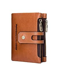 Women's Leather Wallet, Minimalist Vintage Cowhide Leather Wallet With ID Window - Brown